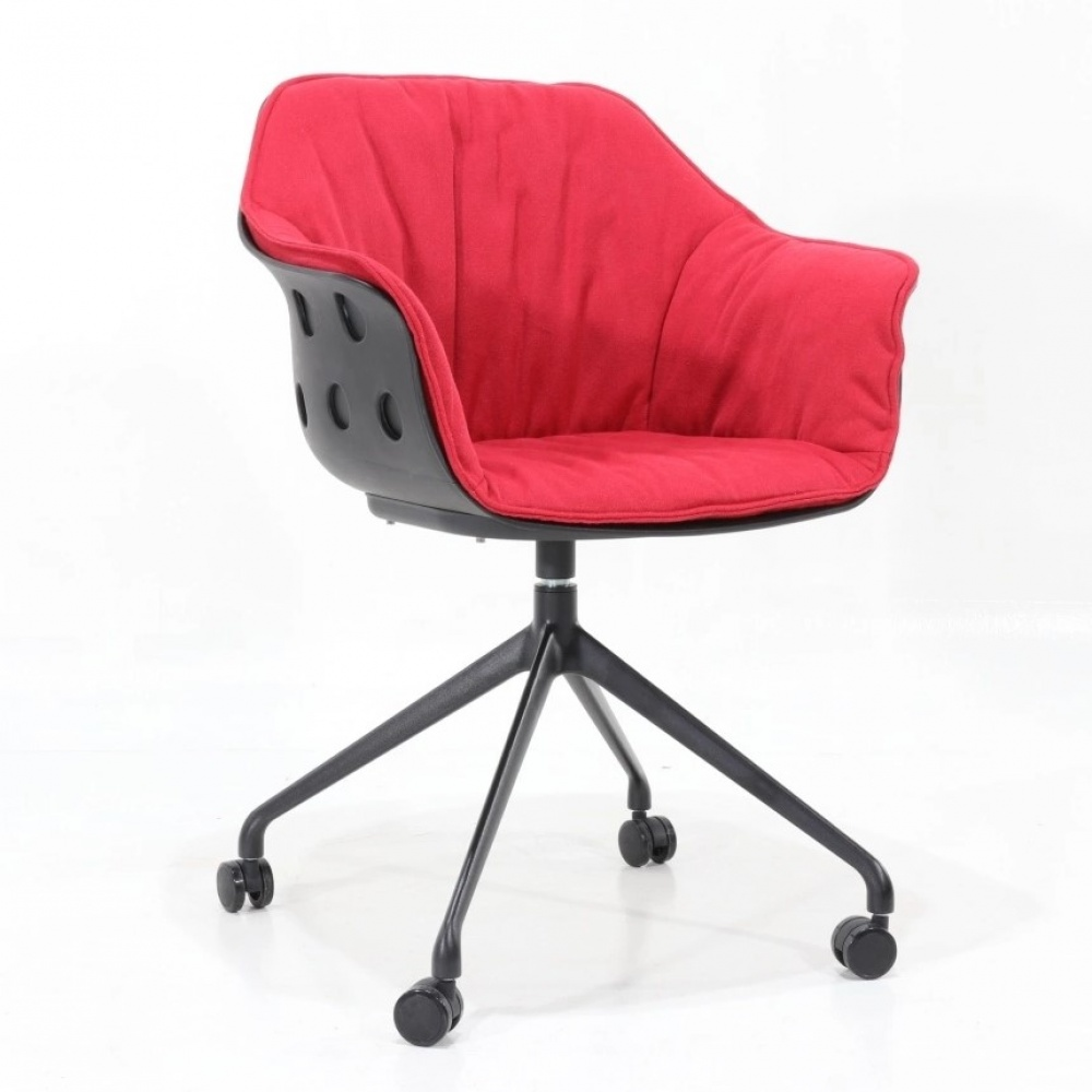 Office chair DELIA - office chair in polypropylene padded with armrests, wheels and adjustable height