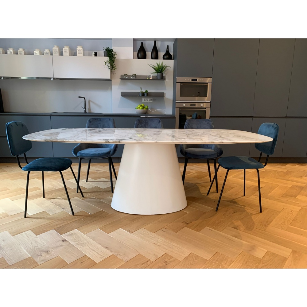 BEATRICE TABLE with MARBLE top and central base - barrel shaped top