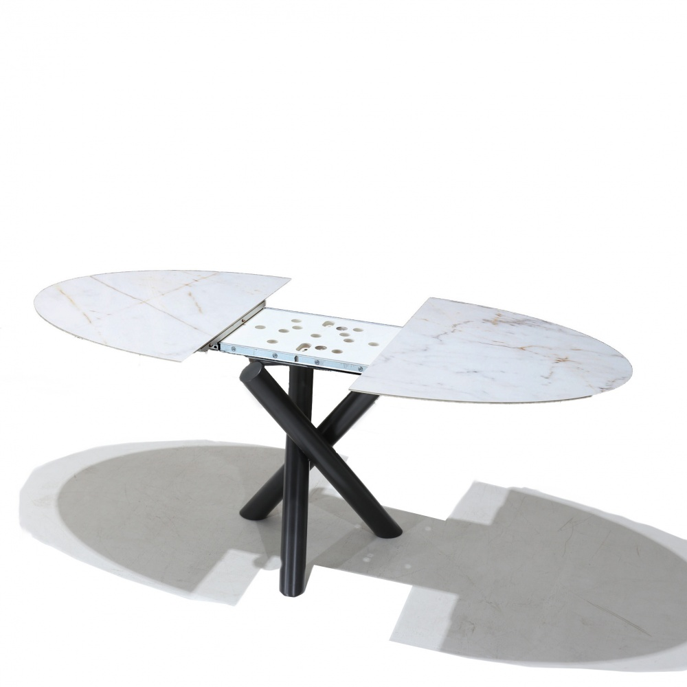 Table INTRECCIO EXTENDABLE - DINING TABLE WITH CENTRAL METAL BASE AND MARBLE EFFECT CERAMIC TOP