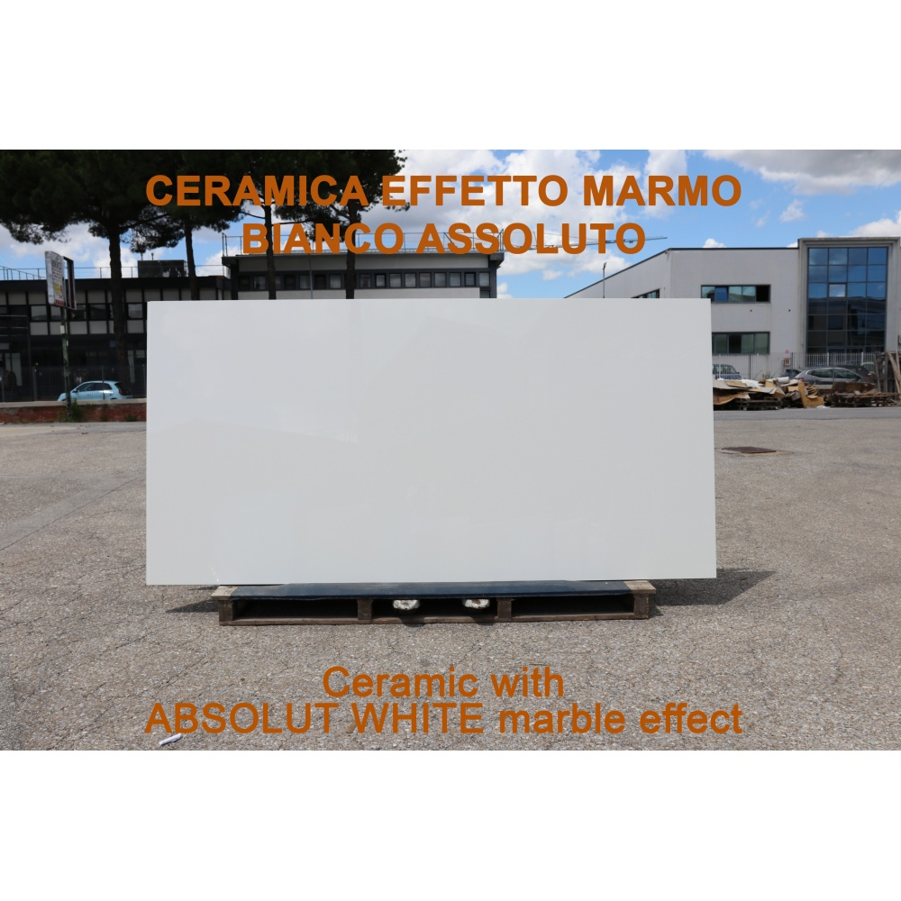 Ceramic slab with Bianco Assoluto marble effect - slab for dining table tops, side tables or sideboards