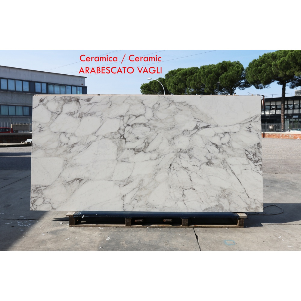 Ceramic slab with Arabescato marble effect - slab for dining table tops, side tables or sideboards