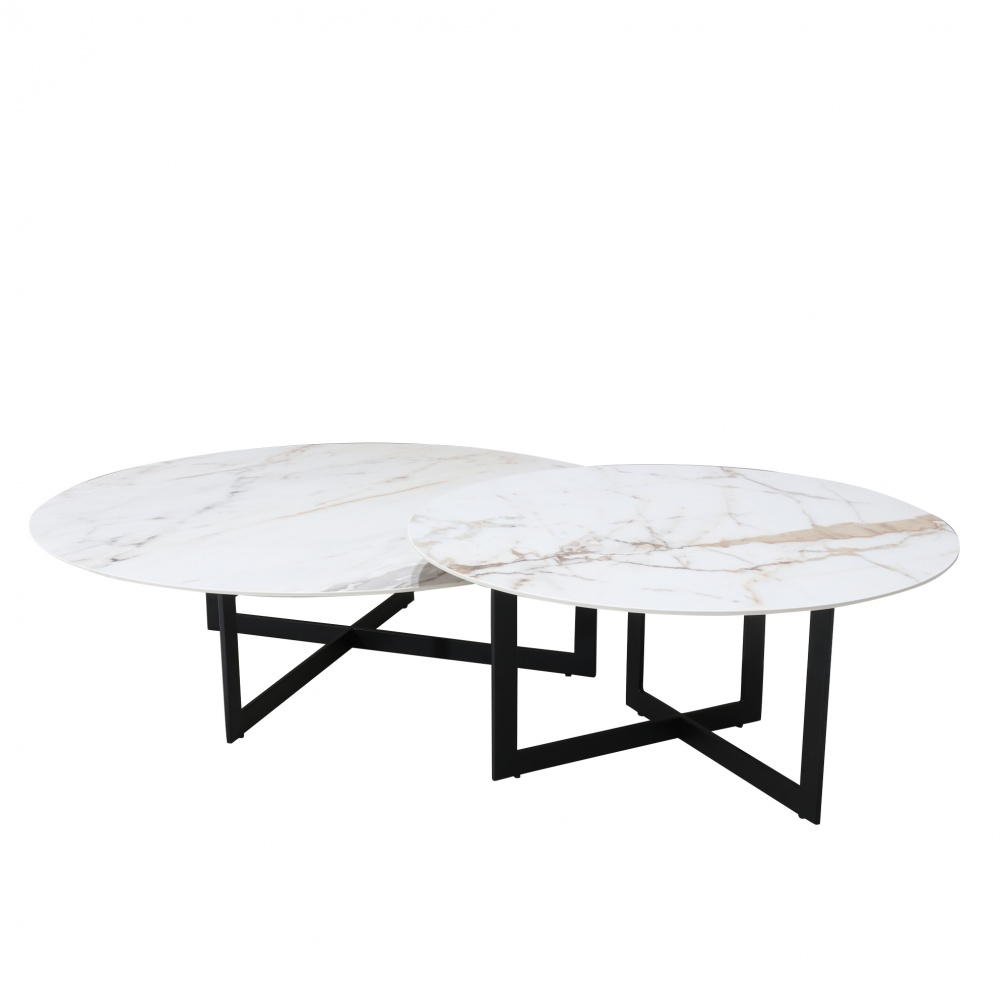 Set of LC tables - black lacquered base and ceramic top