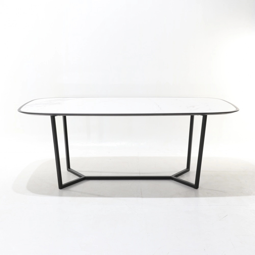 CARLOTTA TABLE - DINING TABLE WITH ENCASED  CERAMIC TOP