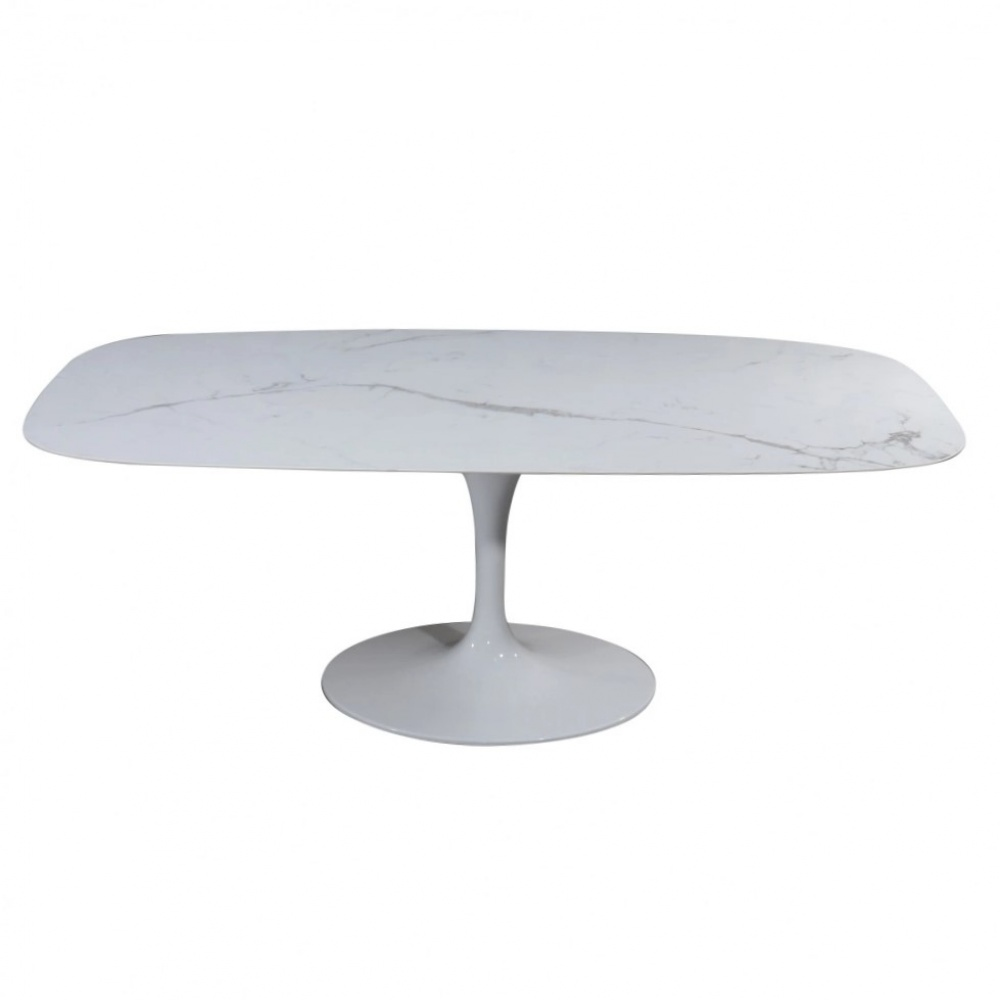 WING TABLE with arabesque marble effect ceramic top - dining table with aluminum base and barrel shaped top