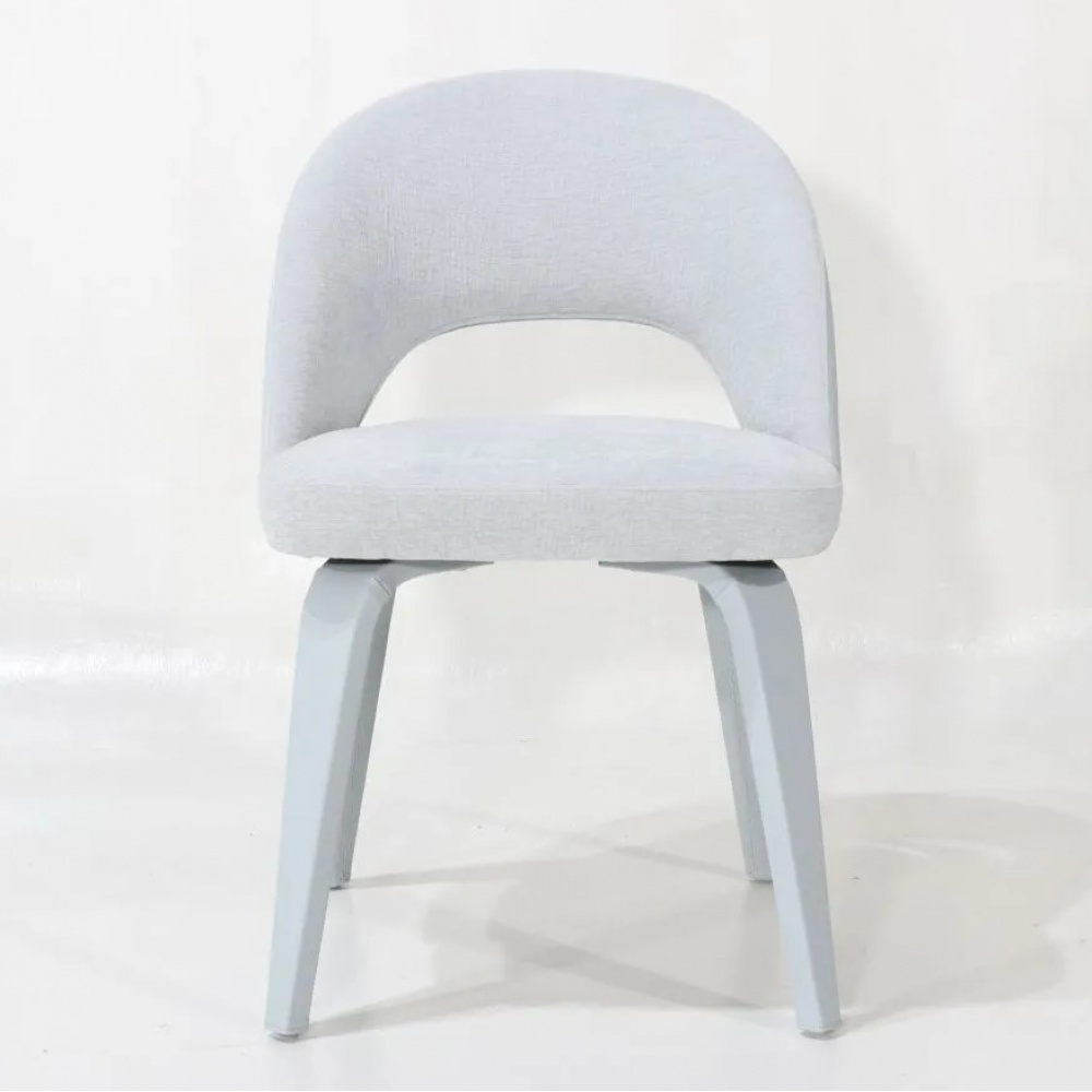 ESSE chair fully upholstered - dining chair with wooden legs and upholstery in leather and fabric