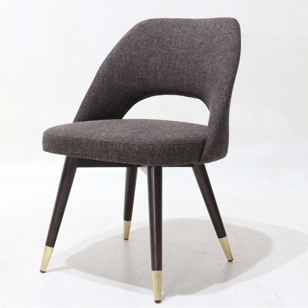 ESTER  chair – Padded dining chair with metal legs and brass feet