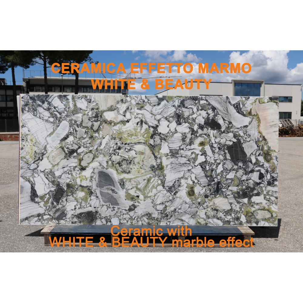 Ceramic slab with white&beauty marble effect - slab for dining table tops, side tables or sideboards