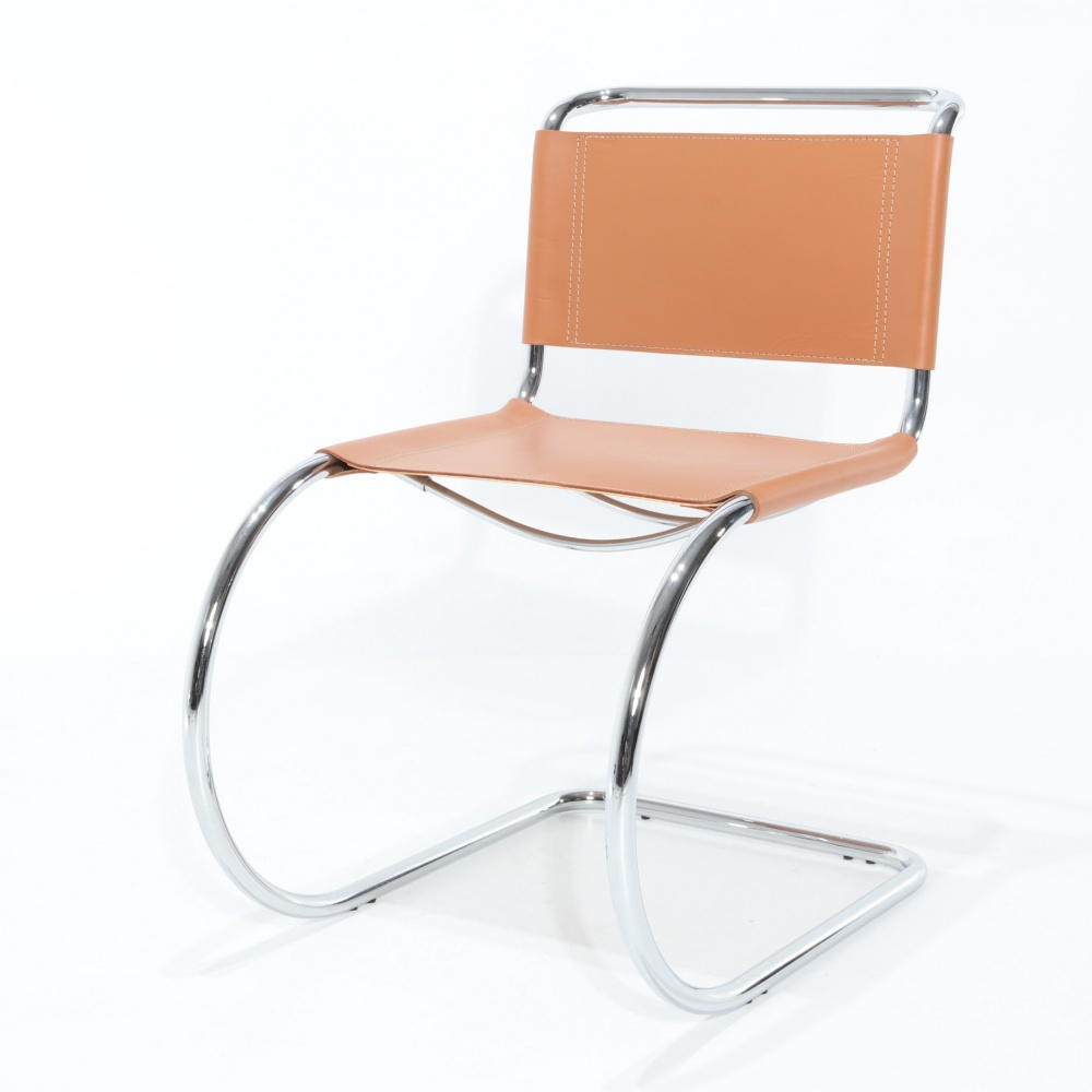 COWHIDE ADRIA CHAIR - steel tubular chair and leather seat
