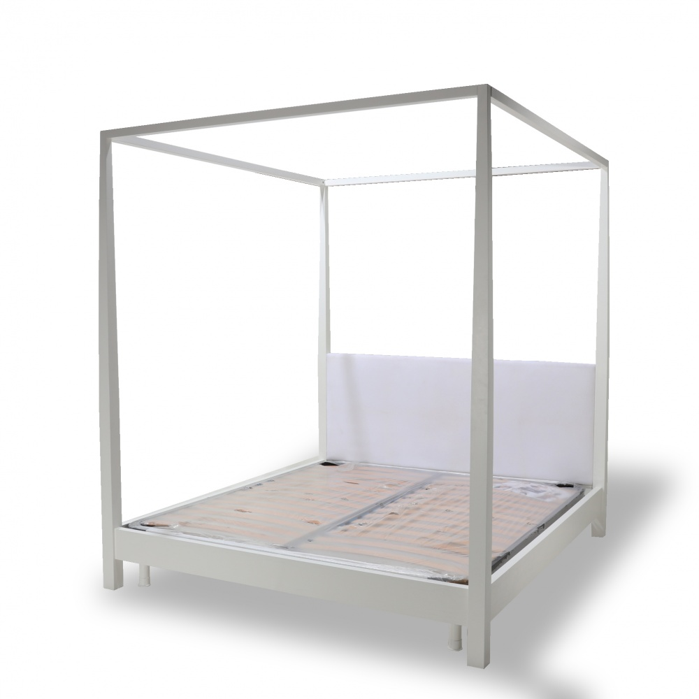 BRUNO four-poster bed - bed with wooden canopy structure and upholstered headboard