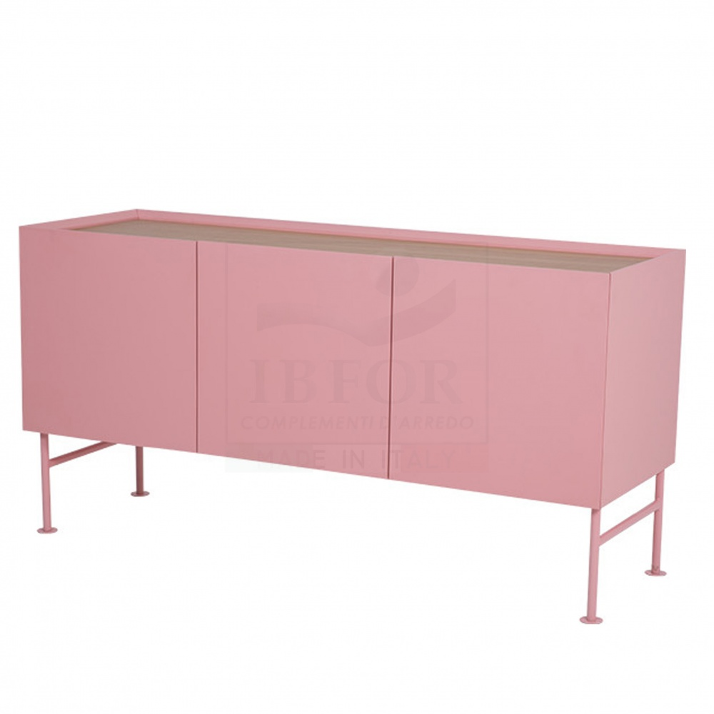 BELINDA sideboard 3 DOORS - lacquered wooden sideboard with two doors and steel base