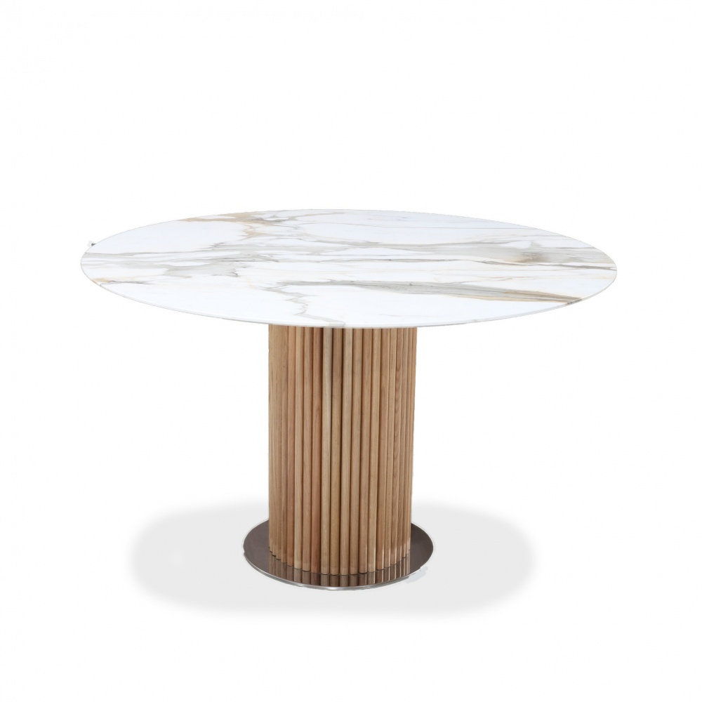 TABLE EMILIE - DINING TABLE WOODEN BASE WITH BARREL SHAPE TOP
