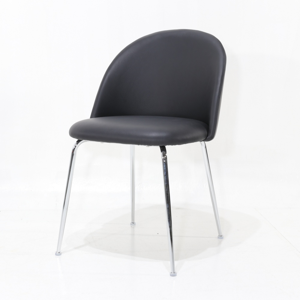 CHAIR MABLE CROMO - modern design dining chair upholstered in leather and chrome base