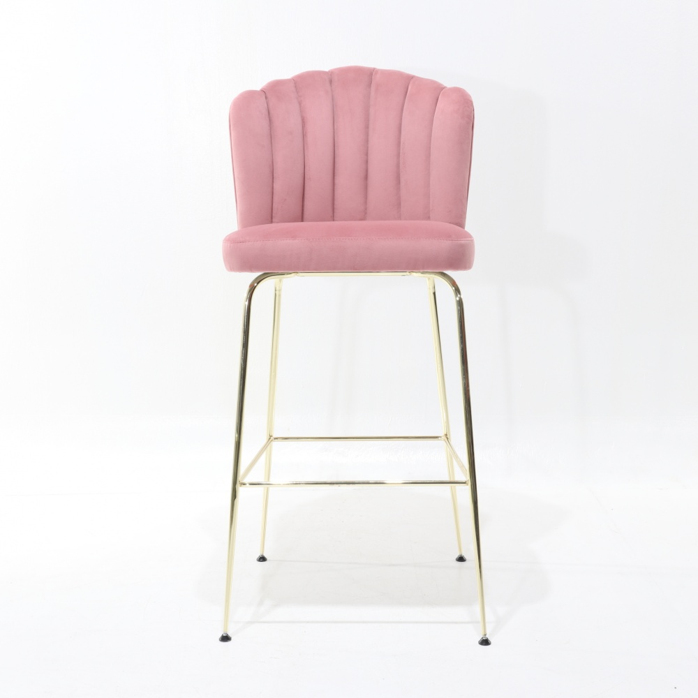 PERLA STOOL - high steel stool covered in leather or fabric