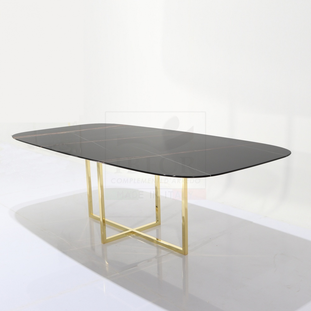 Kross table - from Modern design room with marble top and central chrome gold base