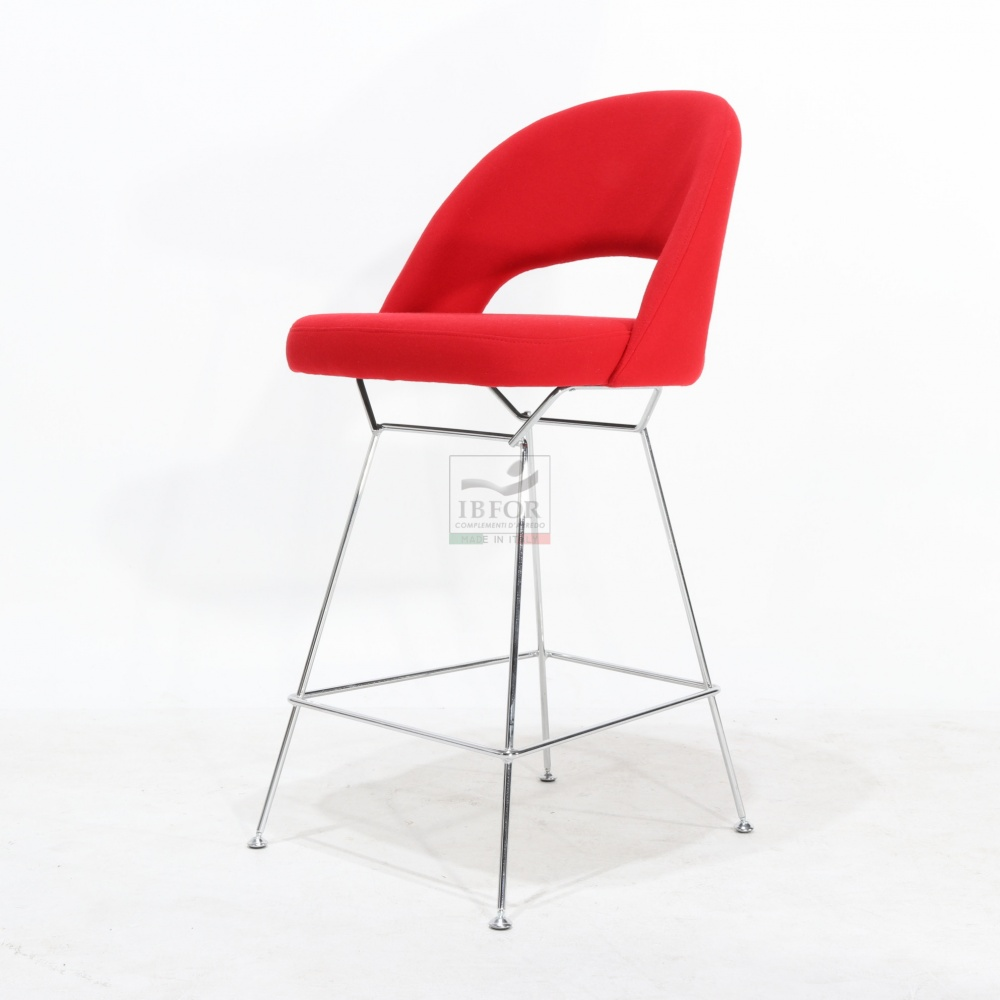 ESSE STOOL - high stool in steel and covered in leather or fabric