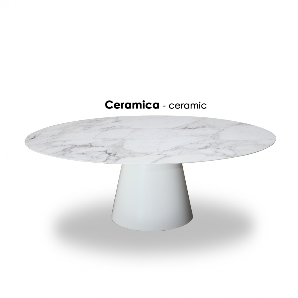 BEATRICE oval dining TABLE - with ceramic top with marble effect
