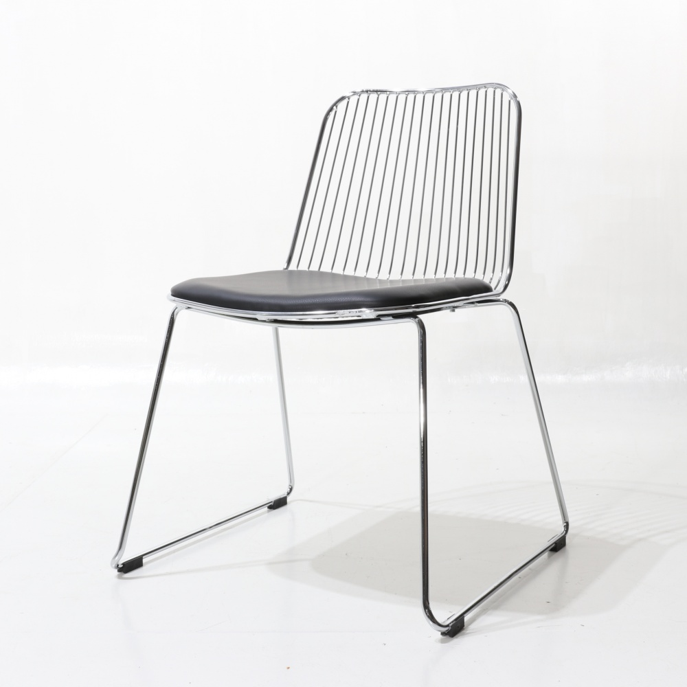 BRENDA chair with cushion - chromed steel dining chair and upholstered seat