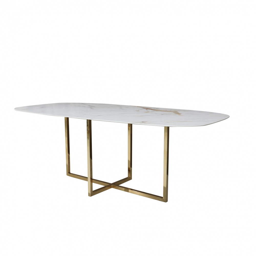 KROSS with barrel shape top in marble effect ceramic - dining table with central base in chromed gold steel and ceramic top