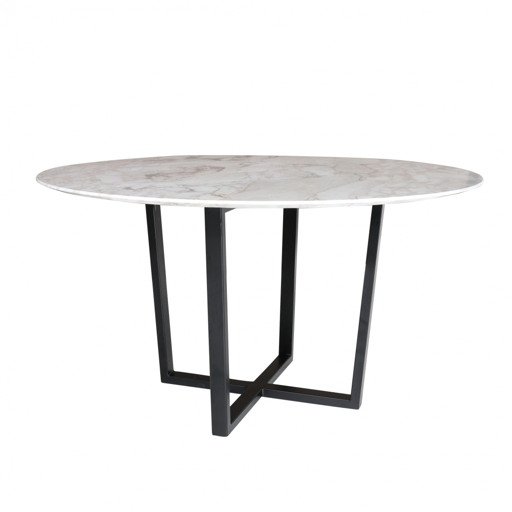 Round KROSS table in marble  - round dining table with central steel base and marble top
