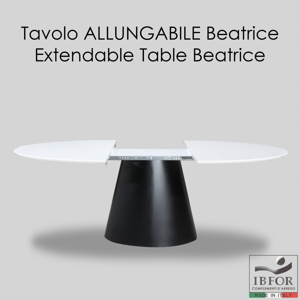Extendable table BEATRICE - design dining table with extendable liquid laminate top