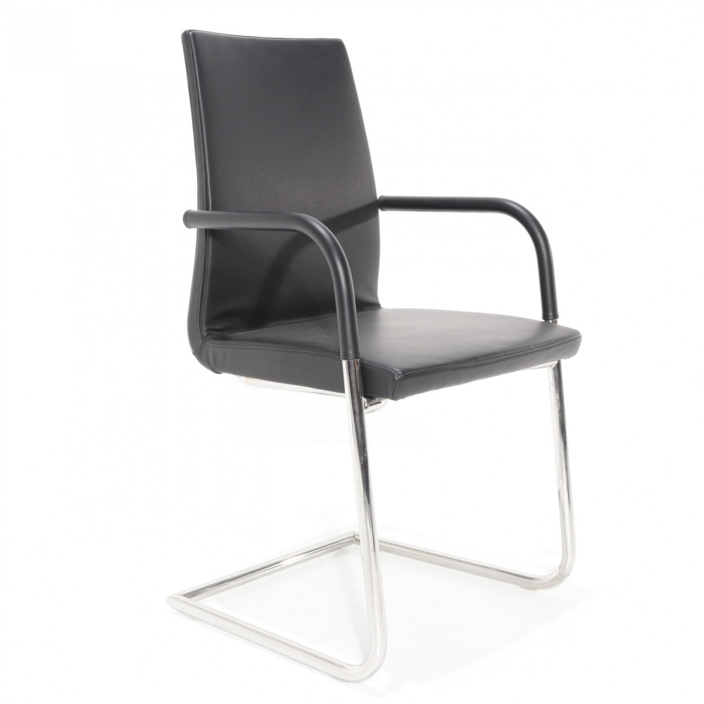 FLOW CHAIR in ANILINA leather COLOR BLACK