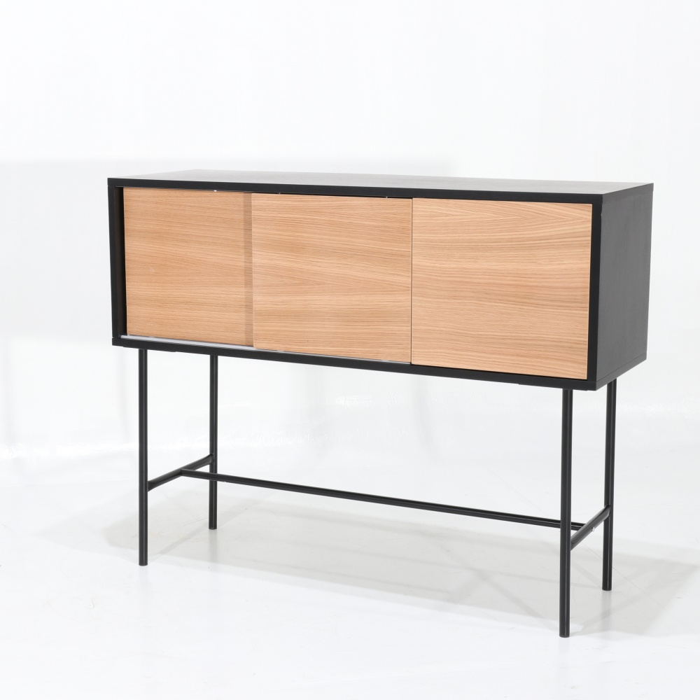LISANDRA sideboard - high day sideboard with three doors in lacquered wood and steel base