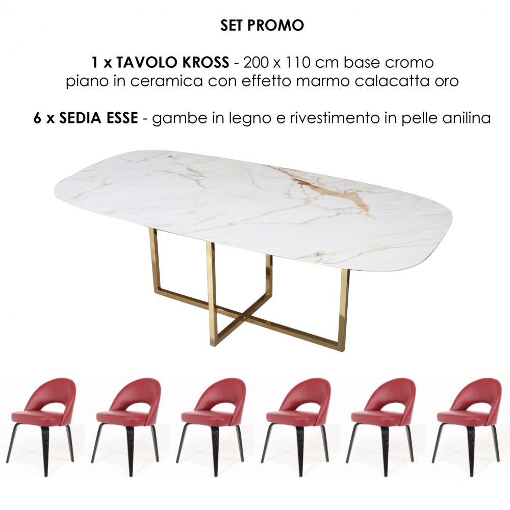 KROSS table and six ESSE chairs - promo set with one table and six dining chairs