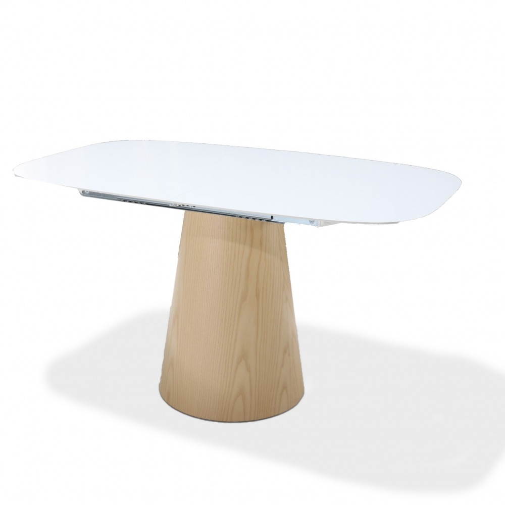 TABLE BEATRICE extensible with wood effect base - barrel shape top in liquid laminate