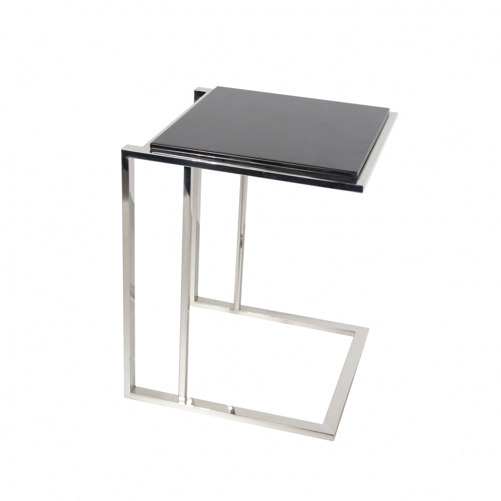 "GOLF coffee table - small ""C"" shaped coffee table or night table and marquinia black marble top"
