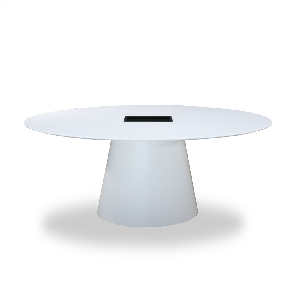 BEATRICE office TABLE - table with central base and liquid laminate top with power outlets