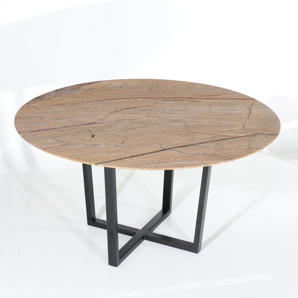 Round KROSS table in marble FOREST GOLD - round dining table with central steel base and marble top